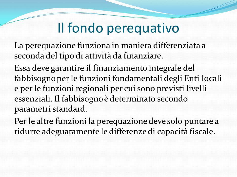 Il fondo perequativo La perequazione funziona in maniera differenziata a seconda del tipo di attività da finanziare.