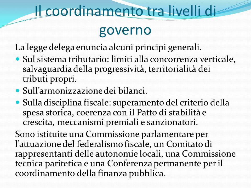 Il coordinamento tra livelli di governo La legge delega enuncia alcuni principi generali.