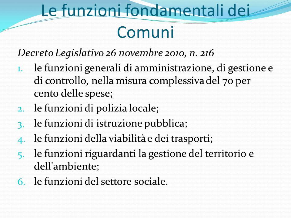 Le funzioni fondamentali dei Comuni Decreto Legislativo 26 novembre 2010, n.