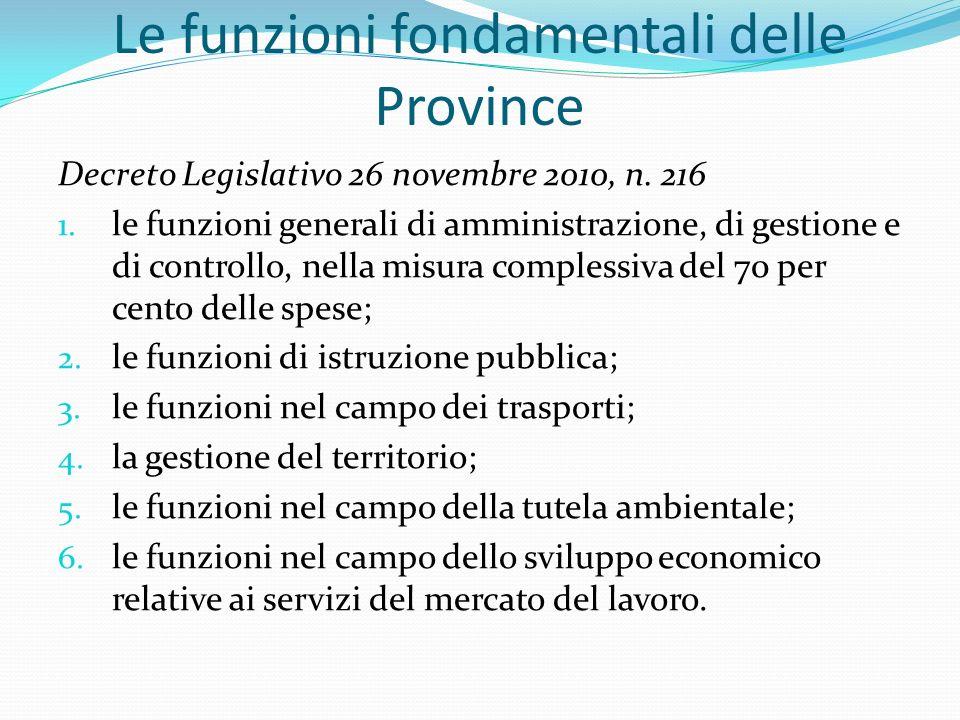 Le funzioni fondamentali delle Province Decreto Legislativo 26 novembre 2010, n.