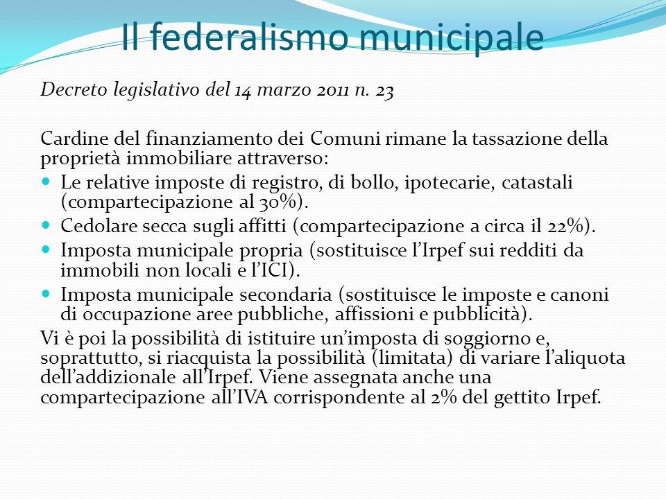 Il federalismo municipale Decreto legislativo del 14 marzo 2011 n.