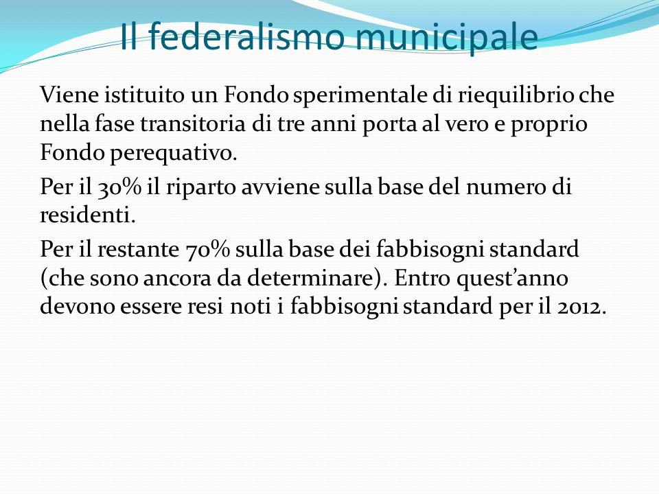 Il federalismo municipale Viene istituito un Fondo sperimentale di riequilibrio che nella fase transitoria di tre anni porta al vero e proprio Fondo perequativo.