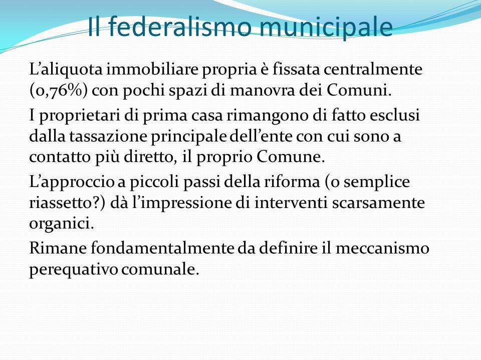 Il federalismo municipale Laliquota immobiliare propria è fissata centralmente (0,76%) con pochi spazi di manovra dei Comuni.