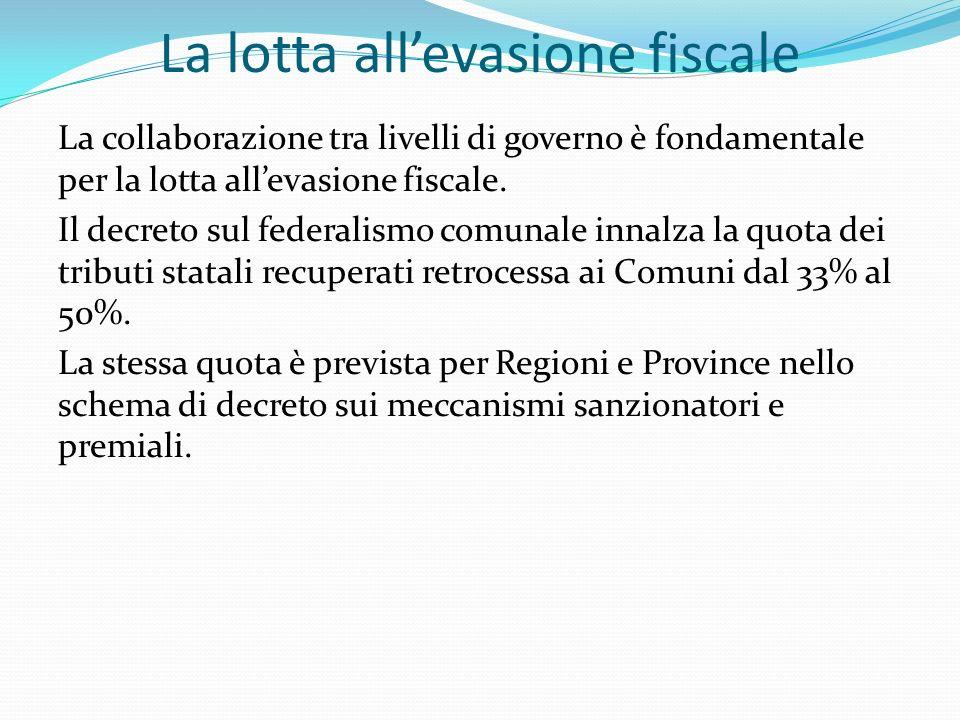 La lotta allevasione fiscale La collaborazione tra livelli di governo è fondamentale per la lotta allevasione fiscale.
