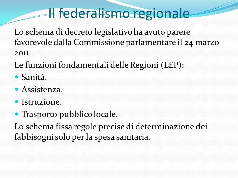 Il federalismo regionale Lo schema di decreto legislativo ha avuto parere favorevole dalla Commissione parlamentare il 24 marzo 2011.