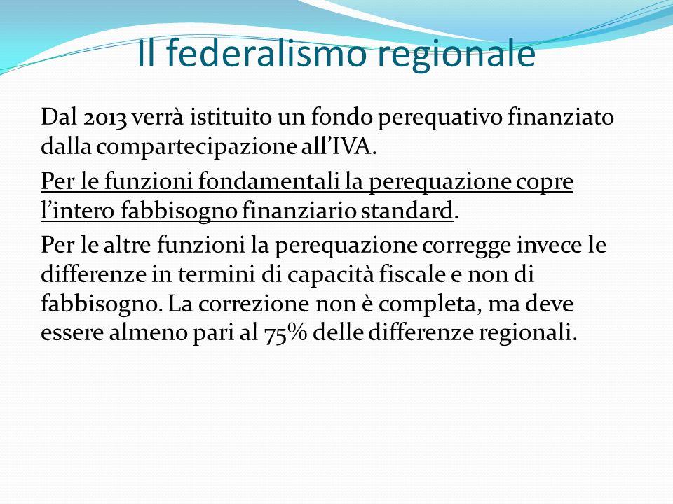 Il federalismo regionale Dal 2013 verrà istituito un fondo perequativo finanziato dalla compartecipazione allIVA.