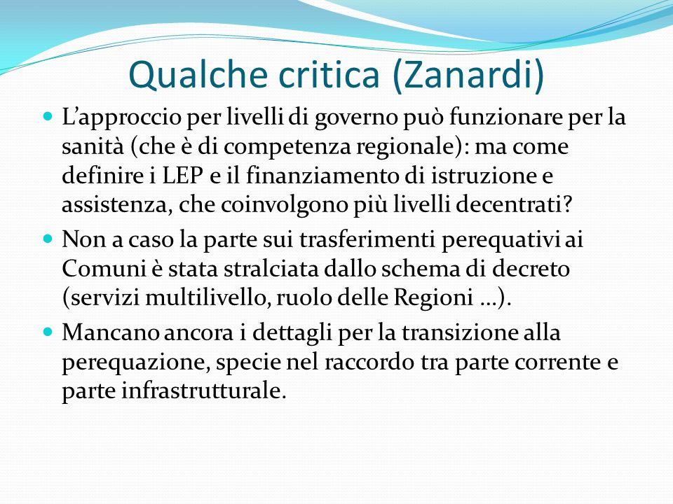 Qualche critica (Zanardi) Lapproccio per livelli di governo può funzionare per la sanità (che è di competenza regionale): ma come definire i LEP e il finanziamento di istruzione e assistenza, che coinvolgono più livelli decentrati.