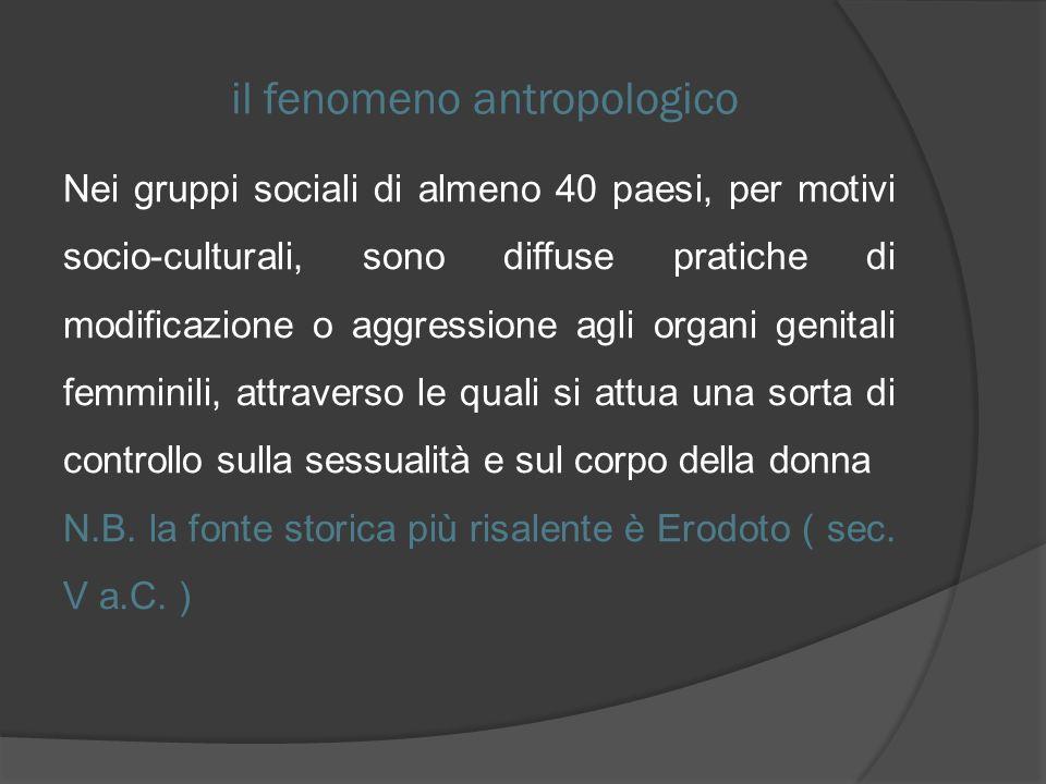 il fenomeno antropologico Nei gruppi sociali di almeno 40 paesi, per motivi socio-culturali, sono diffuse pratiche di modificazione o aggressione agli