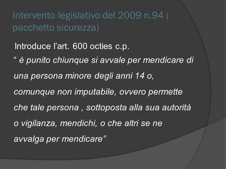 Intervento legislativo del 2009 n.94 ( pacchetto sicurezza) Introduce lart. 600 octies c.p. è punito chiunque si avvale per mendicare di una persona m