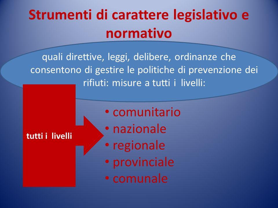 COMUNITARI: Direttiva 2008/98/CE del 19/11/08 in materia di rifiuti da attuare entro il 12 dicembre 2010 sostituisce la direttiva 2006/12/CE (sui rifiuti), la direttiva 91/689/CEE (sui rifiuti pericolosi), e la direttiva 75/439/CEE (olii esausti) Definire principi fondamentali per ridurre limpatto dei rifiuti sullambiente finalità Privilegiare la riduzione dei rifiuti ed il loro uso come risorsa Adottare politiche per dissociare la crescita economica dallimpatto ambientale connesso alla produzione dei rifiuti