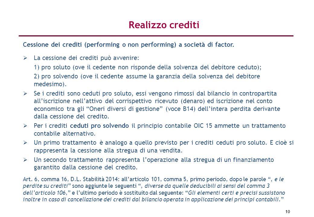 10 Cessione dei crediti (performing o non performing) a società di factor. La cessione dei crediti può avvenire: 1) pro soluto (ove il cedente non ris