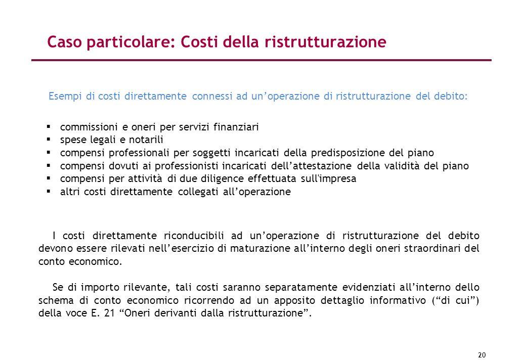20 Caso particolare: Costi della ristrutturazione commissioni e oneri per servizi finanziari spese legali e notarili compensi professionali per sogget