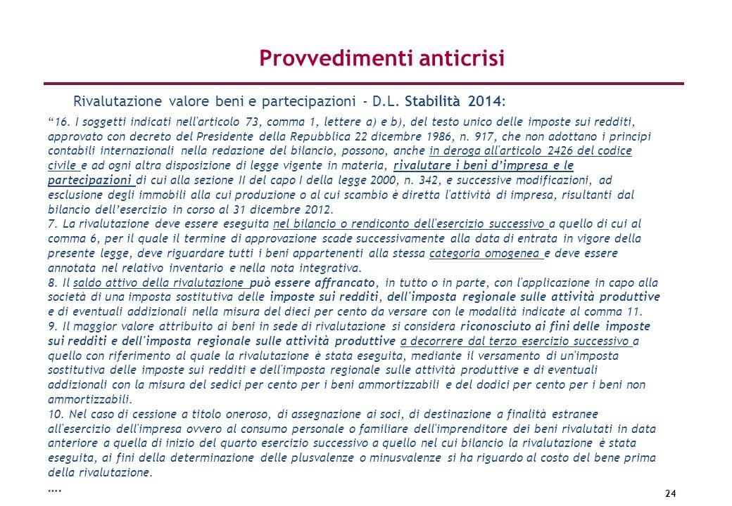 24 Provvedimenti anticrisi 16. I soggetti indicati nell'articolo 73, comma 1, lettere a) e b), del testo unico delle imposte sui redditi, approvato co