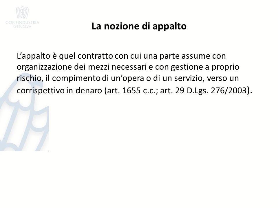 La nozione di appalto Lappalto è quel contratto con cui una parte assume con organizzazione dei mezzi necessari e con gestione a proprio rischio, il compimento di unopera o di un servizio, verso un corrispettivo in denaro (art.