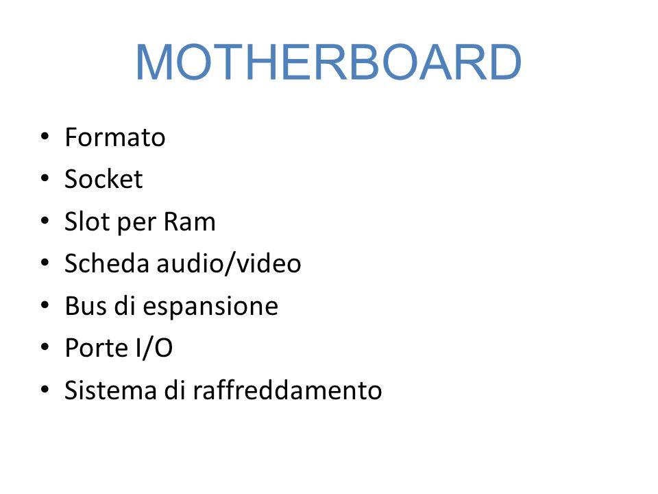MOTHERBOARD Formato Socket Slot per Ram Scheda audio/video Bus di espansione Porte I/O Sistema di raffreddamento