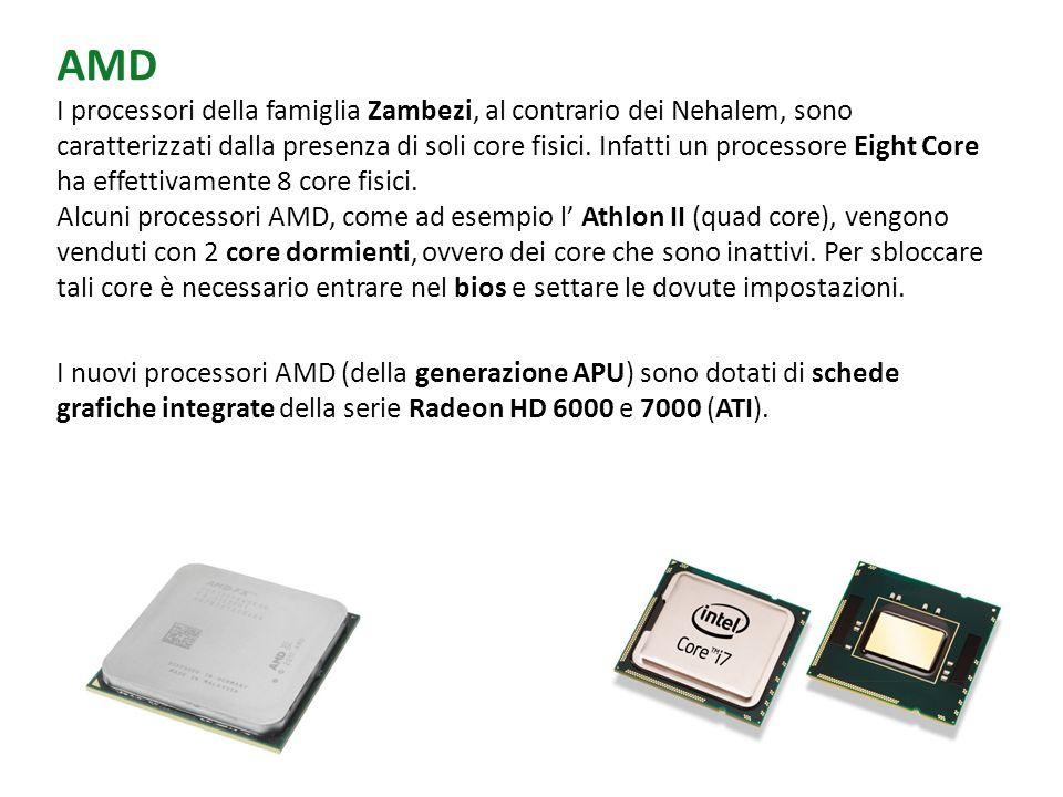 AMD I processori della famiglia Zambezi, al contrario dei Nehalem, sono caratterizzati dalla presenza di soli core fisici. Infatti un processore Eight