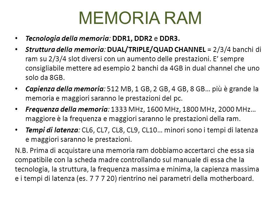 MEMORIA RAM Tecnologia della memoria: DDR1, DDR2 e DDR3. Struttura della memoria: DUAL/TRIPLE/QUAD CHANNEL = 2/3/4 banchi di ram su 2/3/4 slot diversi