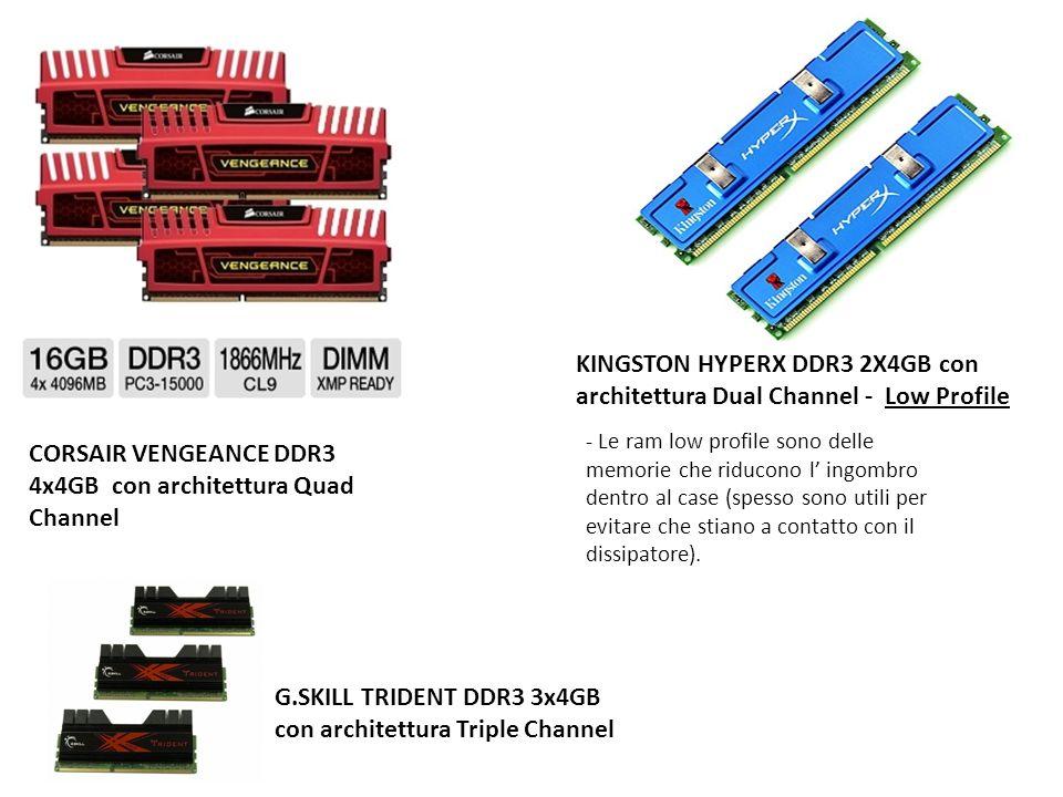 CORSAIR VENGEANCE DDR3 4x4GB con architettura Quad Channel KINGSTON HYPERX DDR3 2X4GB con architettura Dual Channel - Low Profile - Le ram low profile
