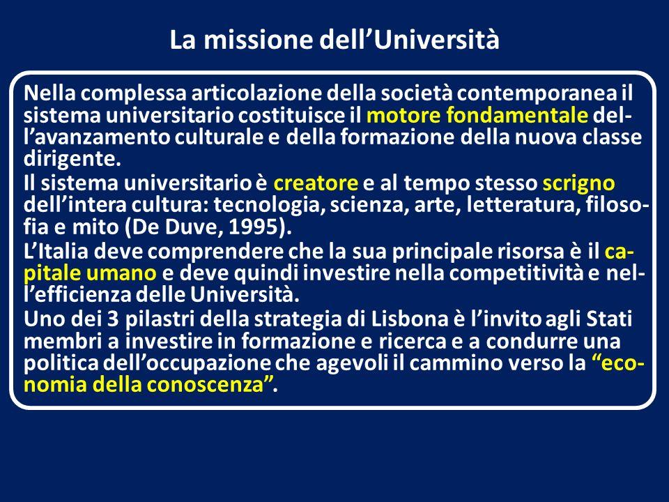 La missione dellUniversità Nella complessa articolazione della società contemporanea il sistema universitario costituisce il motore fondamentale del- lavanzamento culturale e della formazione della nuova classe dirigente.