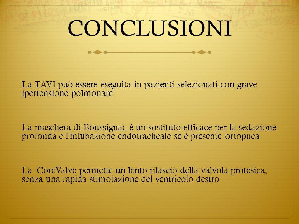 CONCLUSIONI La TAVI può essere eseguita in pazienti selezionati con grave ipertensione polmonare La maschera di Boussignac è un sostituto efficace per