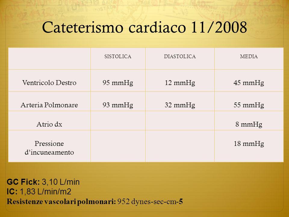 Cateterismo cardiaco 11/2008 SISTOLICADIASTOLICAMEDIA Ventricolo Destro95 mmHg12 mmHg45 mmHg Arteria Polmonare93 mmHg32 mmHg55 mmHg Atrio dx 8 mmHg Pr