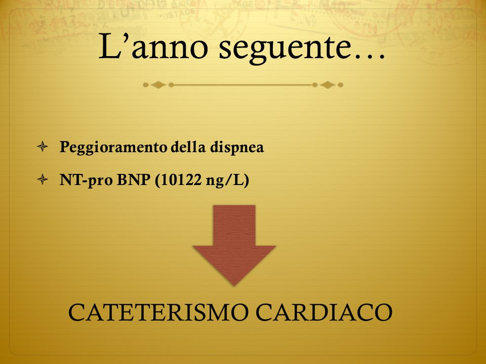 Cateterismo cardiaco 11/2009 SISTOLICADIASTOLICAMEDIA Ventricolo Destro95 mmHg12 mmHg45 mmHg Arteria Polmonare90 mmHg30 mmHg50 mmHg Atrio dx 15 mmHg IC: 2,24 l/min/m 2