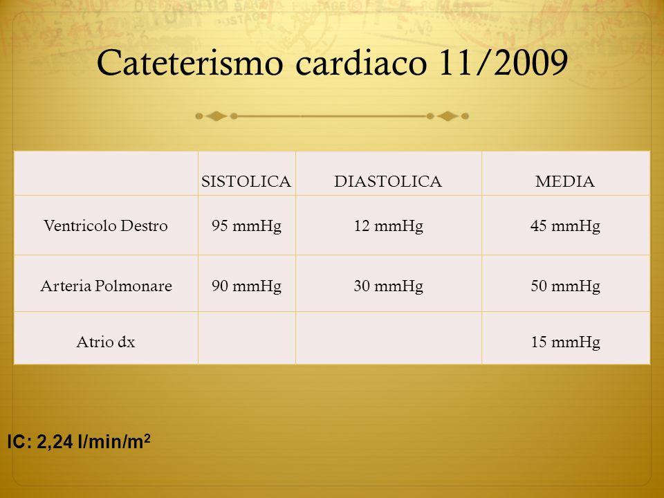 Cateterismo cardiaco 11/2009 SISTOLICADIASTOLICAMEDIA Ventricolo Destro95 mmHg12 mmHg45 mmHg Arteria Polmonare90 mmHg30 mmHg50 mmHg Atrio dx 15 mmHg I
