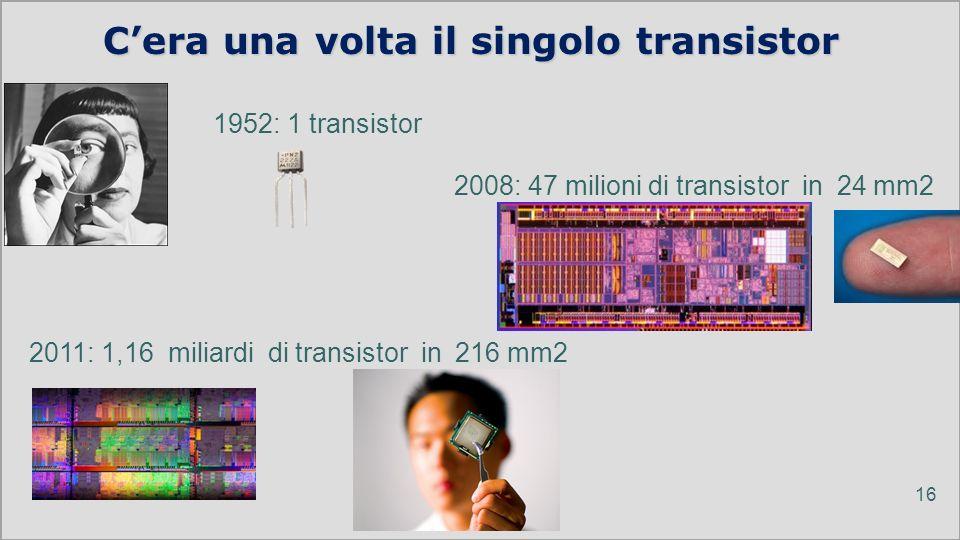 ICTP 13 Cera una volta il singolo transistor 16 1952: 1 transistor 2008: 47 milioni di transistor in 24 mm2 2011: 1,16 miliardi di transistor in 216 m