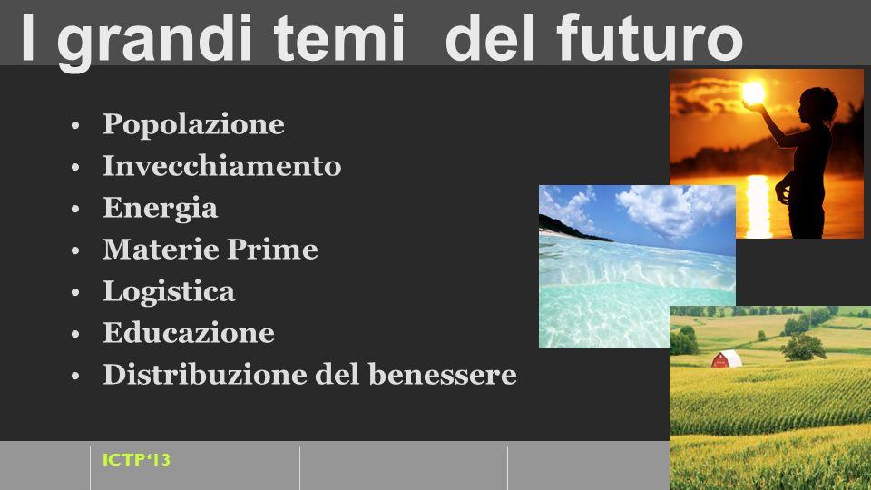 ICTP 13 I grandi temi del futuro Popolazione : cresce e crescono i flussi migratori Invecchiamento: salute e assistenza Energia : green, clima, ecosis