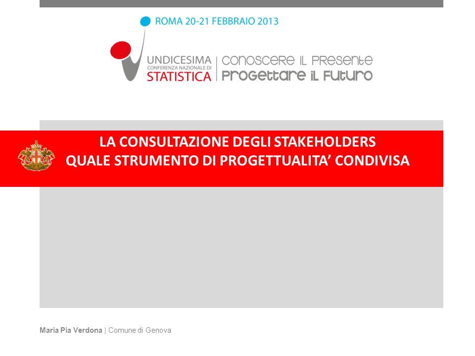 LA CONSULTAZIONE DEGLI STAKEHOLDERS QUALE STRUMENTO DI PROGETTUALITA CONDIVISA Maria Pia Verdona | Comune di Genova