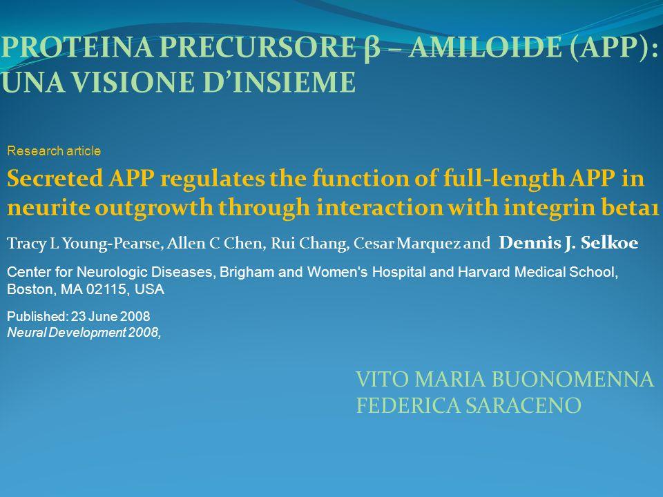 PROTEINA PRECURSORE β – AMILOIDE (APP): UNA VISIONE DINSIEME Secreted APP regulates the function of full-length APP in neurite outgrowth through inter