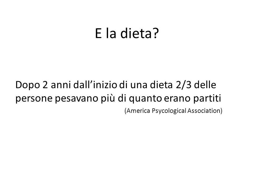 E la dieta? Dopo 2 anni dallinizio di una dieta 2/3 delle persone pesavano più di quanto erano partiti (America Psycological Association)