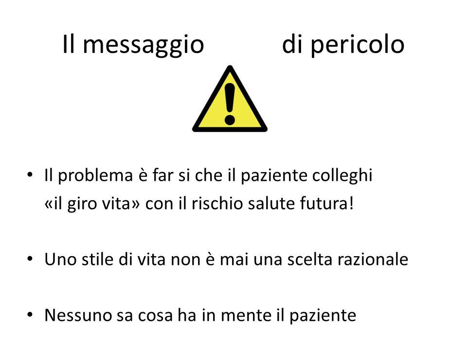 Il messaggio di pericolo Il problema è far si che il paziente colleghi «il giro vita» con il rischio salute futura! Uno stile di vita non è mai una sc