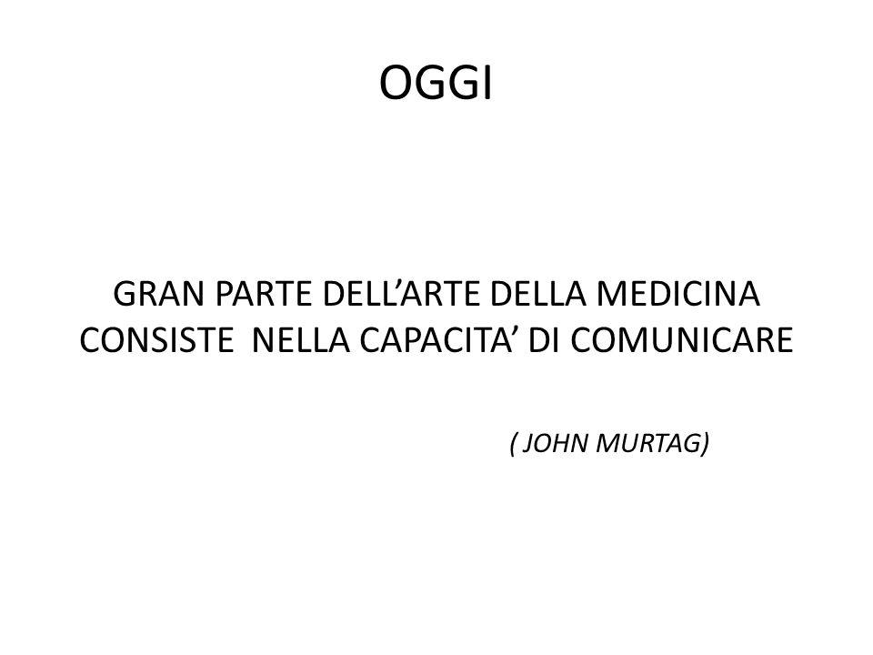 OGGI GRAN PARTE DELLARTE DELLA MEDICINA CONSISTE NELLA CAPACITA DI COMUNICARE ( JOHN MURTAG)