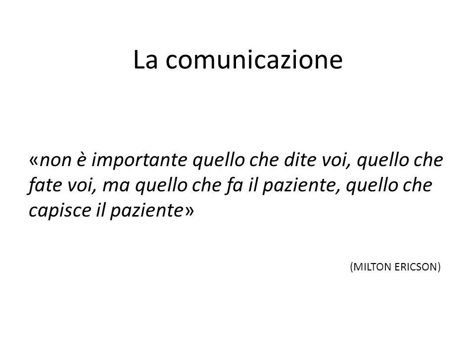 La comunicazione «non è importante quello che dite voi, quello che fate voi, ma quello che fa il paziente, quello che capisce il paziente» (MILTON ERI