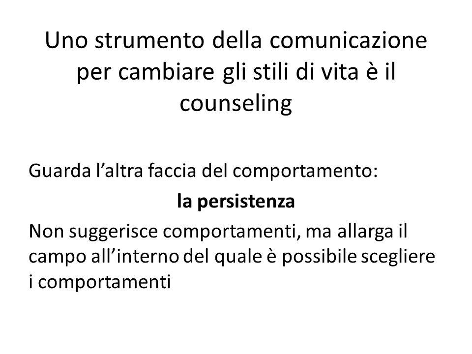 Uno strumento della comunicazione per cambiare gli stili di vita è il counseling Guarda laltra faccia del comportamento: la persistenza Non suggerisce