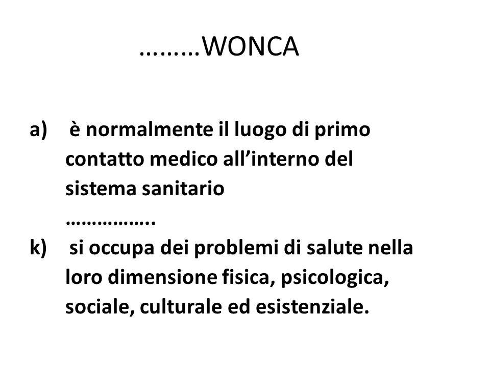 ………WONCA a)è normalmente il luogo di primo contatto medico allinterno del sistema sanitario …………….. k)si occupa dei problemi di salute nella loro dime