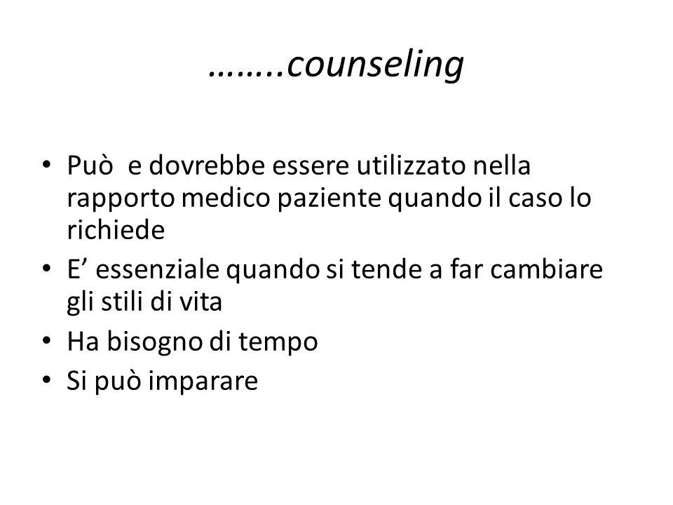 ……..counseling Può e dovrebbe essere utilizzato nella rapporto medico paziente quando il caso lo richiede E essenziale quando si tende a far cambiare