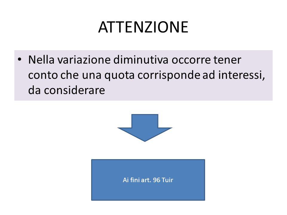 ATTENZIONE Nella variazione diminutiva occorre tener conto che una quota corrisponde ad interessi, da considerare Ai fini art. 96 Tuir
