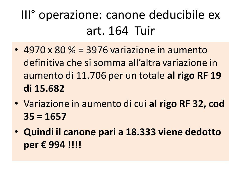 III° operazione: canone deducibile ex art. 164 Tuir 4970 x 80 % = 3976 variazione in aumento definitiva che si somma allaltra variazione in aumento di