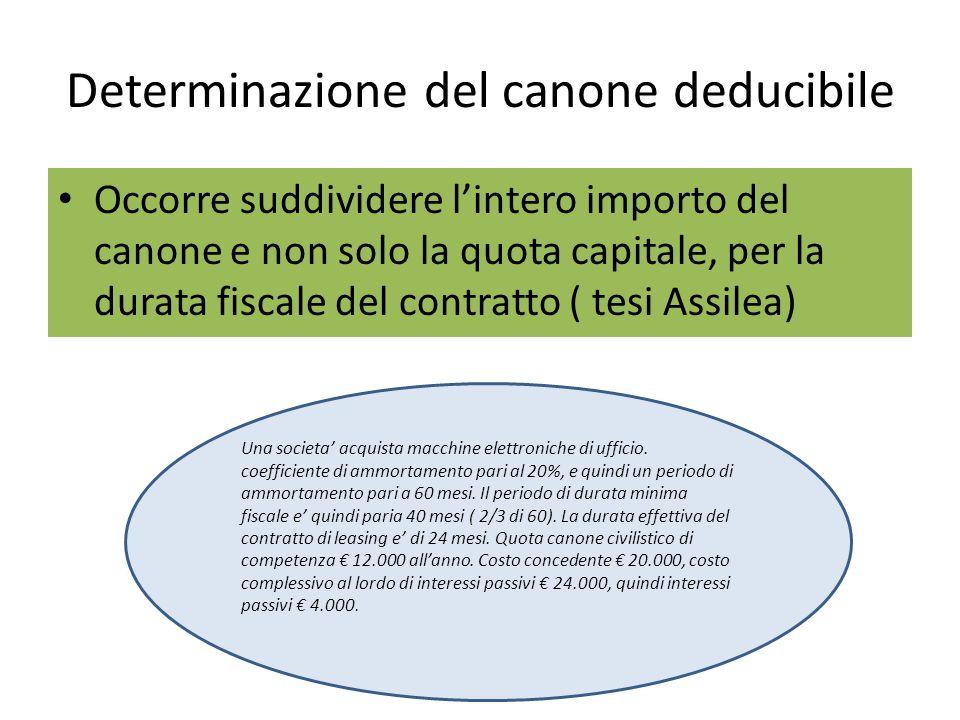 Determinazione del canone deducibile Occorre suddividere lintero importo del canone e non solo la quota capitale, per la durata fiscale del contratto