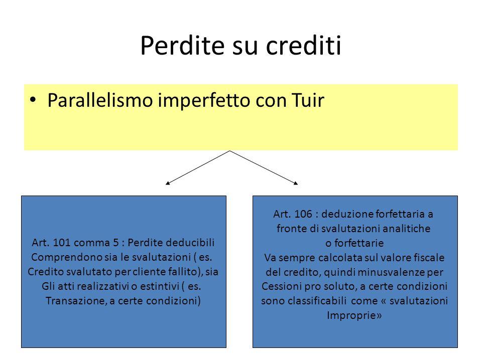Perdite su crediti Parallelismo imperfetto con Tuir Art. 101 comma 5 : Perdite deducibili Comprendono sia le svalutazioni ( es. Credito svalutato per