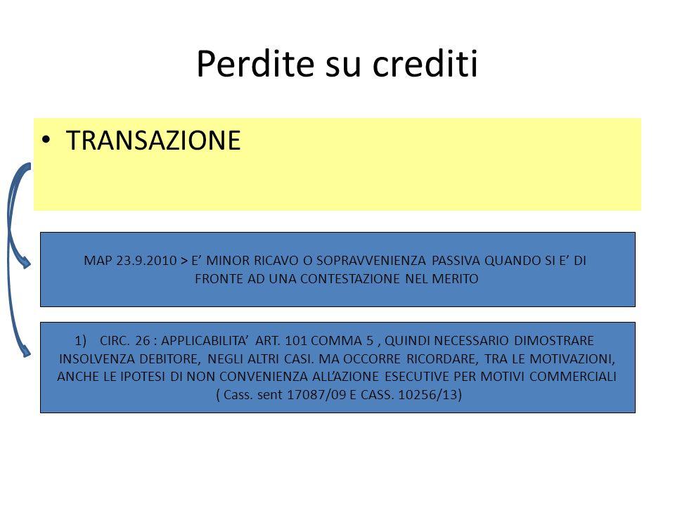 Perdite su crediti TRANSAZIONE MAP 23.9.2010 > E MINOR RICAVO O SOPRAVVENIENZA PASSIVA QUANDO SI E DI FRONTE AD UNA CONTESTAZIONE NEL MERITO 1)CIRC.