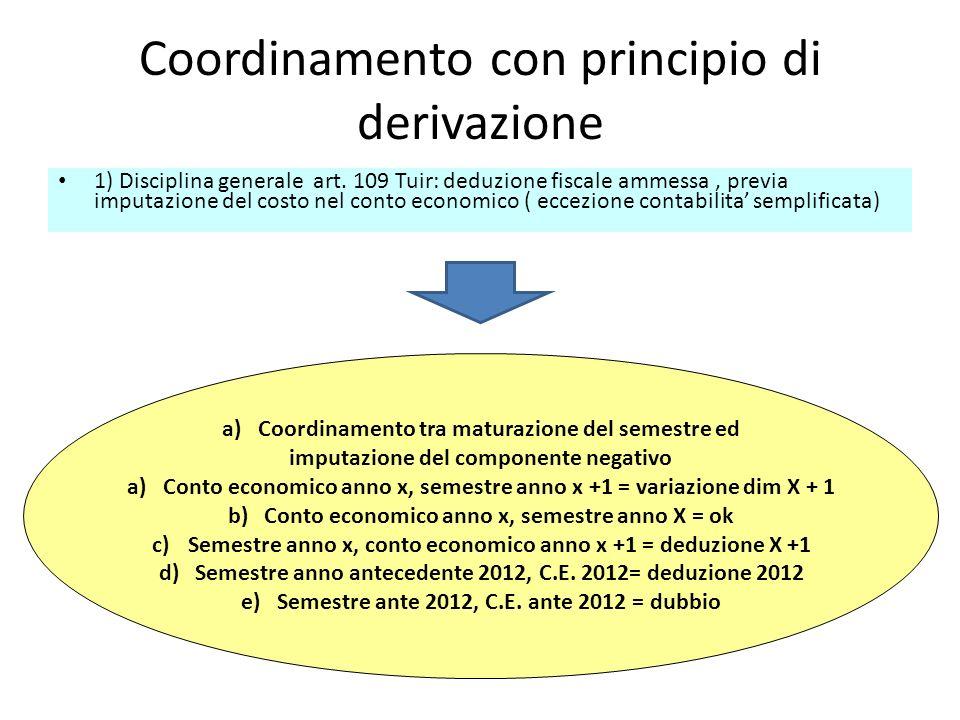 Coordinamento con principio di derivazione 1) Disciplina generale art. 109 Tuir: deduzione fiscale ammessa, previa imputazione del costo nel conto eco