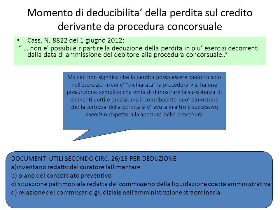 Momento di deducibilita della perdita sul credito derivante da procedura concorsuale Cass. N. 8822 del 1 giugno 2012: … non e possibile ripartire la d