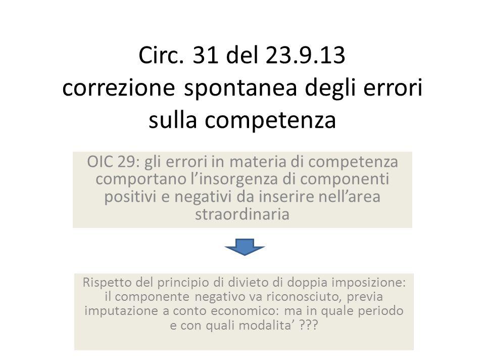Circ. 31 del 23.9.13 correzione spontanea degli errori sulla competenza OIC 29: gli errori in materia di competenza comportano linsorgenza di componen