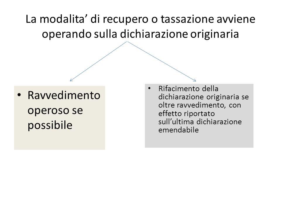 La modalita di recupero o tassazione avviene operando sulla dichiarazione originaria Ravvedimento operoso se possibile Rifacimento della dichiarazione