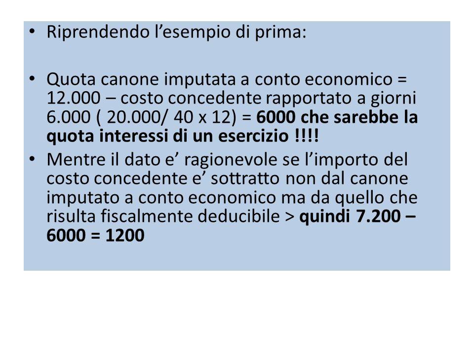Riprendendo lesempio di prima: Quota canone imputata a conto economico = 12.000 – costo concedente rapportato a giorni 6.000 ( 20.000/ 40 x 12) = 6000 che sarebbe la quota interessi di un esercizio !!!.