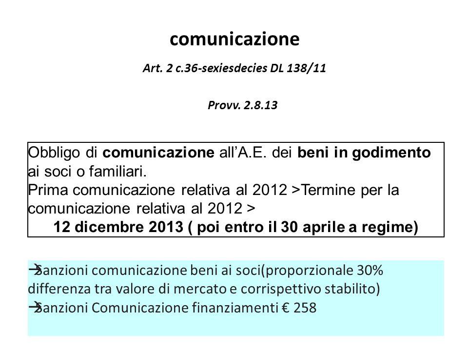 comunicazione Obbligo di comunicazione allA.E. dei beni in godimento ai soci o familiari. Prima comunicazione relativa al 2012 >Termine per la comunic