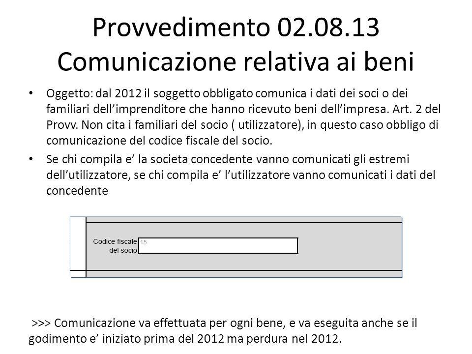Provvedimento 02.08.13 Comunicazione relativa ai beni Oggetto: dal 2012 il soggetto obbligato comunica i dati dei soci o dei familiari dellimprenditor